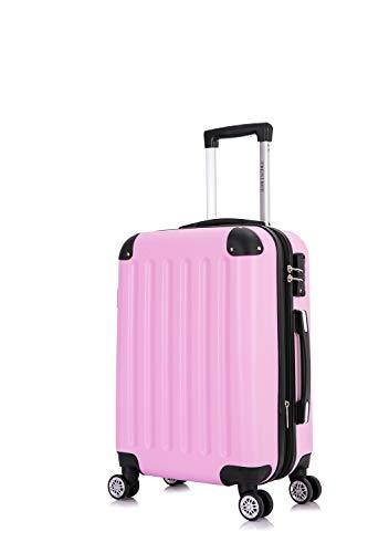 Frentree Handgepäck Koffer | Reisekoffer | Hartschalenkoffer mit 4 Rollen und TSA-Schloss, erweiterbar, Koffer Standard Farbe:Pink, Koffer 226 Grösse:M(Handgepäck)