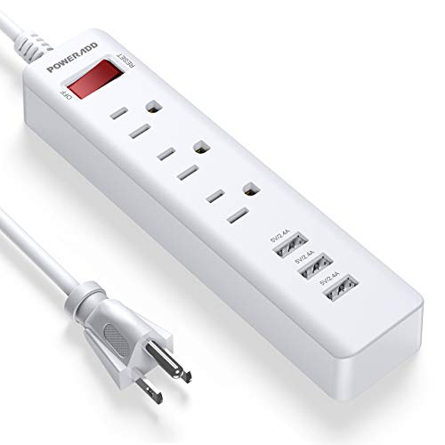 POWERADD Power Strip 3 Outlets with 3 Fast Charging USB Ports, 5ft Extension Cord with USB Ports (5V/2.4AX3) for Indoor,1625W/13A (1 PCS)