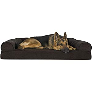 Furhaven Pet Dog Bed – Orthopedic Faux Fleece and Chenille Soft Woven Traditional Sofa-Style Living Room Couch Pet Bed with Removable Cover for Dogs and Cats, Coffee, Jumbo