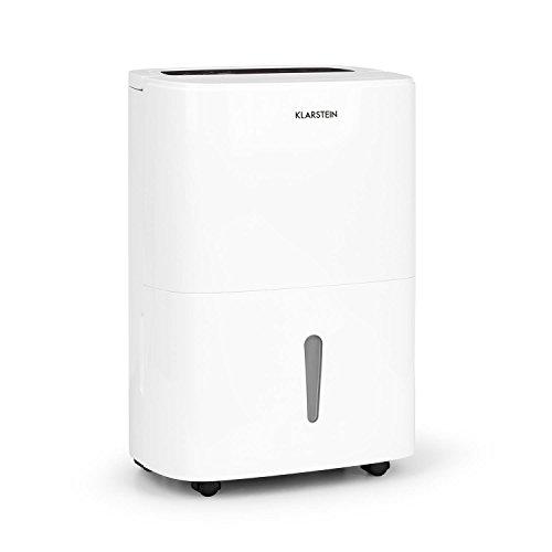Klarstein DryFy 20 - Deumidificatore a Compressione, 20 L/24h, 420 W, 40-50 m² (fino 125 m3/h), Timer, Modalità silenziosa, automatico e regolabile, Maniglia per trasporto, Bianco