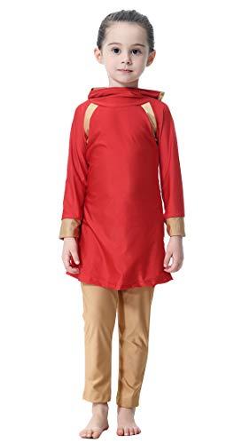GladThink Muslim islamisch Mädchen Vollständige Abdeckung Bademode Strandkleidung Rot #90