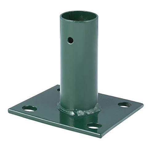 Verdelook - Placa Manguito de Base Cuadrada y Soporte Redondo para Poste, Puerta y Paneles para fijación al Suelo, Color Verde, diámetro Interior 34 mm