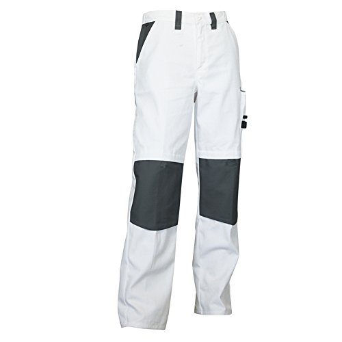 LMA 1084 CREPI Pantalon de Peintre, Blanc/Gris, Taille 42