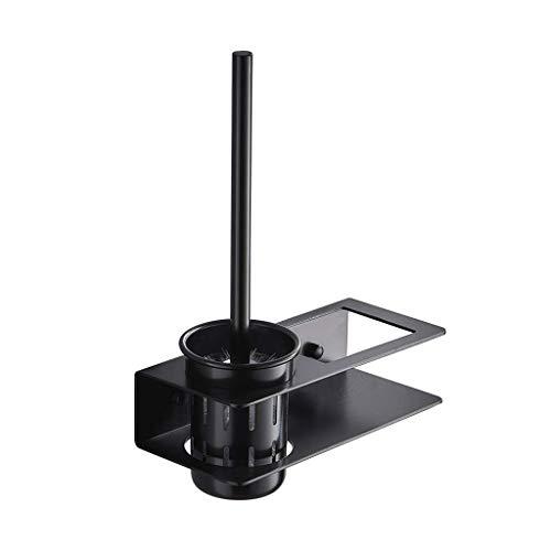 FOLA Exquisito cepillo de inodoro y soporte con estantes, cepillo de inodoro montado en la pared y soporte, cepillo de inodoro de metal para almacenamiento de baño, negro para limpieza de baño