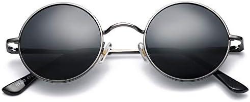 Pro Acme Retro Small Round Polarized Sunglasses for Men Women John Lennon Style Gunmetal Frame product image