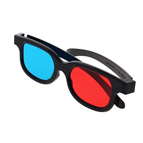 Othmro 3D-Brille mit schwarzem Kunststoffrahmen und Harzlinse, einfacher Stil, 3D-Filmspiel, Rot-Cyan-Anaglyphe, 1 Stück