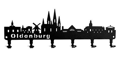 steelprint.de Schlüsselbrett/Hakenleiste * Oldenburg Skyline * - Niedersachsen, Wandhaken, Schlüsselleiste, Metall - 6 Haken - schwarz