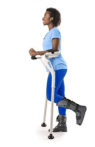 """Forearm Crutches Adult, 1 Pair Hands Free Crutches Adult, Ergonomic Walking Cane, 2 Walking Support Forearm Crutches for Adults, Fits (4'11""""- 6'8"""") Adjustable Crutches, Mobility Device (White)"""