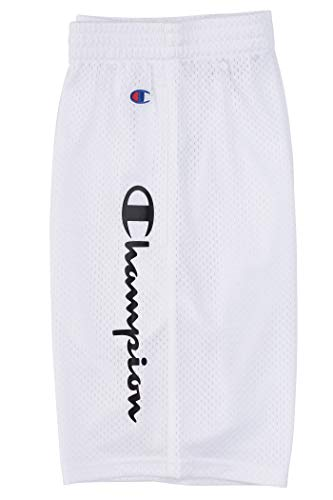 Champion Boys Performance Basketball Mesh Shorts (White/Black Script, Youth Large)