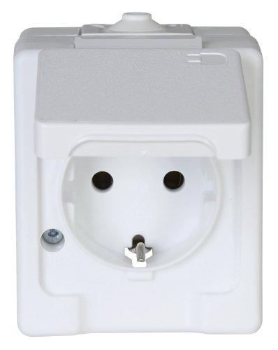 Kopp 100602003 Aufputz-Feuchtraum Schutzkontakt-Steckdose mit Klappdeckel, IP44, Standard