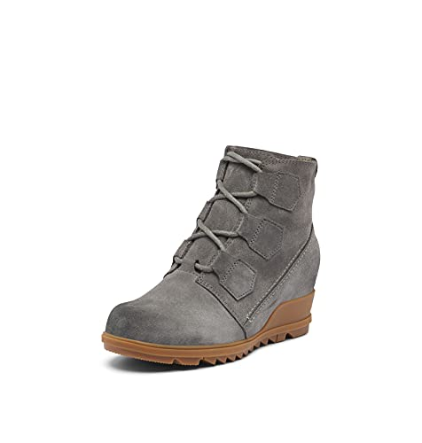 SOREL Women's Evie Lace — Quarry — Waterproof Leather — Wedge Ankle Booties — Size 9.5