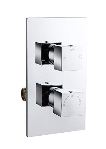 Duschthermostat Unterputz mit Temperatur- und Durchflusseinstellung, Unterputz Thermostat für dusche, Brausethermostat für 2 Funktionen Quadratisch