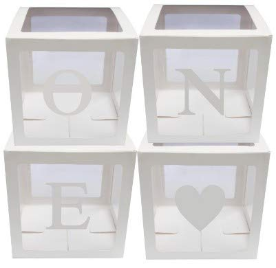 Cutogain 4 Teile/Satz Baby Shower Party Decor Ballon Box Transparent Karton