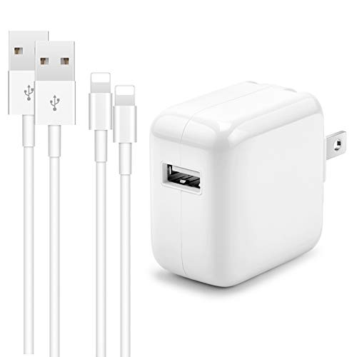 12W USB Charger for iPhone iPad, 2.4A 12W USB Wall Charger Foldable Portable Travel Plug with 2 Pack Fast Charging Cable (3FT) Compatible with iPhone, iPad