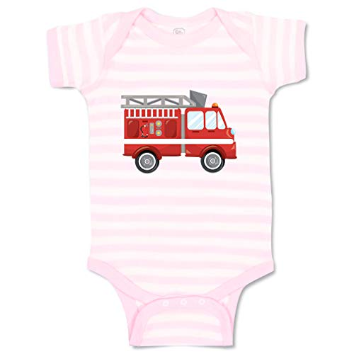 Custom Personalized Boy & Girl Baby Bodysuit Firefighter Car Funny Cotton Baby Clothes Stripes Soft Pink White Design Only 6 Months