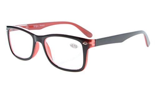 Eyekepper Leser Federscharniere Qualität klassischen Vintage Stil Lesebrille Schwarz-Rot +0.75