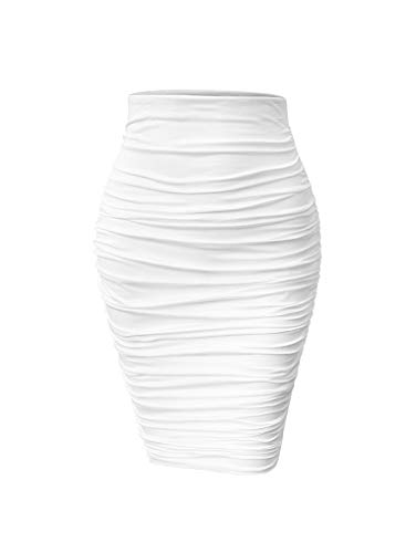 YMDUCH Women's Sexy Ruched Bodycon Elasticity Tight Casual Club Pencil Skirt White