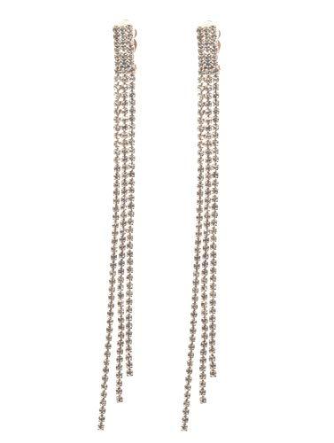 Schmuckanthony Hoernel. Orecchini lunghi e raffinati con clip, in oro e cristallo trasparente, lunghezza 12,5 cm