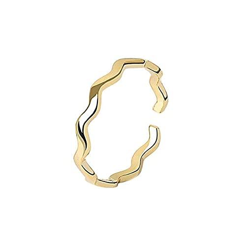Anillo abierto para mujeres, elegantes ondas de oro vintage anillo unisex ajustable 925 joyería de plata esterlina regalos para bodas Prom en la promesa de cumpleaños de cumpleaños (color: oro) LNNDE