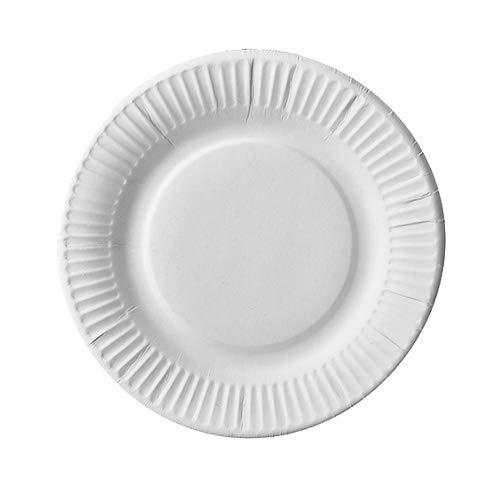 PAPSTAR 100 platos de cartón puro, redondos, diámetro de 19 cm, color blanco, extrafuertes, recibirás 5 paquetes de 100 unidades (total 500 unidades)