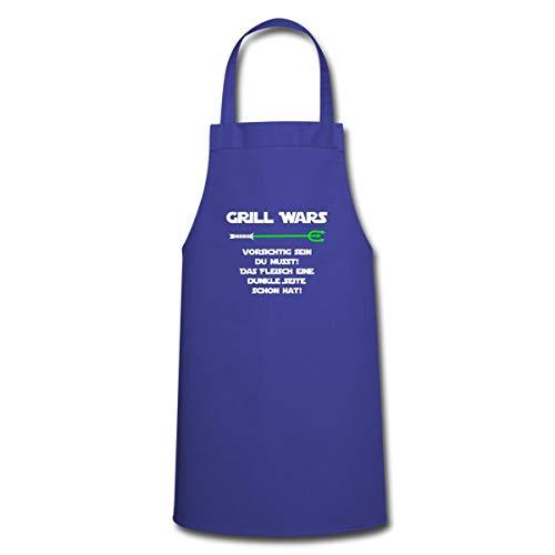 Spreadshirt Grill Wars Fleisch Dunkle Seite Schon Hat BBQ Kochschürze, Royalblau
