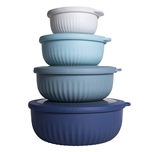 Cook with Color Mixing Bowls - 8 Piece Nesting Plastic Mixing Bowl Set with Lids (Blue Ombre)