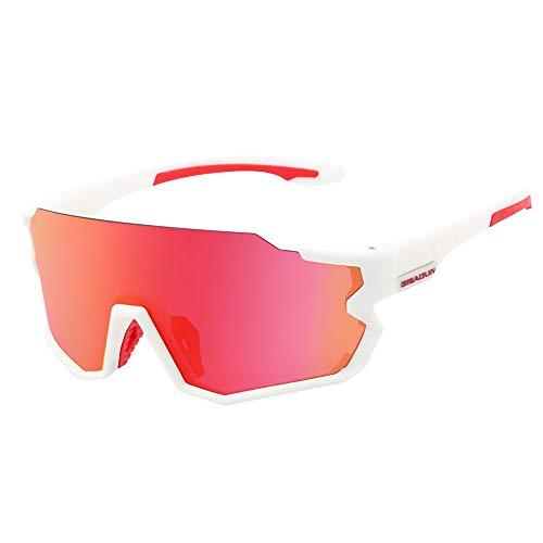 HTTOAR Gafas de Sol de Ciclismo Deportivo Material TR90 Intercambio de 3 Lentes Adecuado para Correr Bicicleta Pesca Conducir Diversas Actividades al Aire Libre (Blanco Rojo)