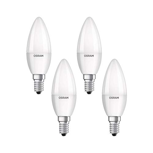 Osram LED Base Classic B Lampe, in Kerzenform mit E14-Sockel, nicht dimmbar, Ersetzt 5.0W = 40 Watt, Matt, Warmweiß - 2700 Kelvin, 4er-Pack