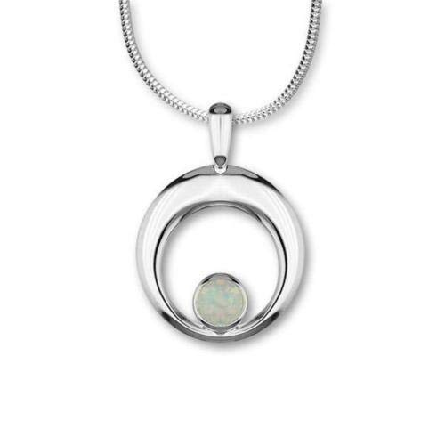 Ortak Scotland Harlequin White Opal Sterling Silver Pendant Necklace