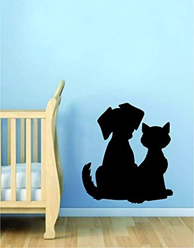 Vinilo adhesivo para pared de silueta de perro y gato, hermoso refugio de animales, rescate de mascotas con estampado de huellas de perro, cachorro, gatito