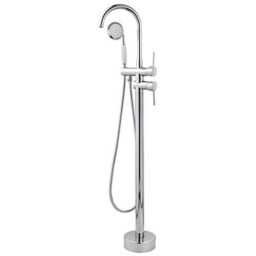 Grifo de bañera de cromo con soporte de cerámica para el suelo y grifo de latón pulido de alto flujo con pulverizador de mano