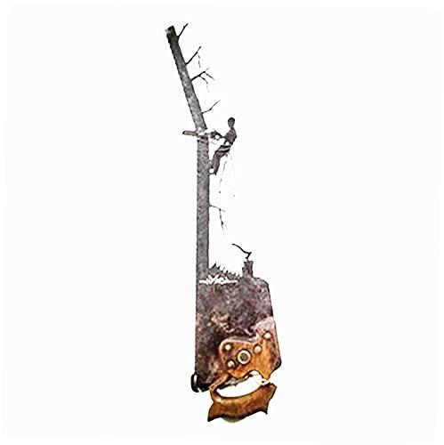 WQMA Metall Wandkunst Dekor Vatertag einzigartiges Geschenk Cowboy Theme Kreative Hängende Verzierung Old Vintage Rustikale Handsäge Schneidebehänge 3D Wandkunstzeichen...