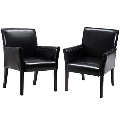 Giantex Leather Reception Guest Chairs Set of 2 W/Padded...