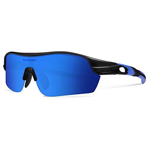 Queshark Polarisées Lunettes de Soleil Cyclisme avec 4 lentilles pour Homme Vélo Course à Pied Conduite Pêche Golf Baseball QE0047