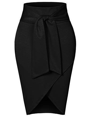 RK RUBY KARAT Womens Asymmetrical High Waisted Self Tie Casual Formal Pencil Midi Skirt, Black, Large