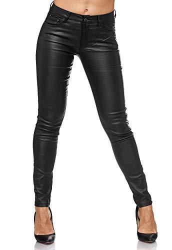 ArizonaShopping - Jeans Damen Treggings Leder Optik Biker Stretch Hose Faux Hüfthose, Farben:Anthrazit, Größe Damen:44 / XXL