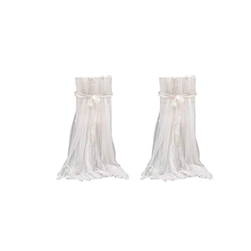 VORCOOL 2 Pcs Tulle Chair Cover Long Bow Ties Mesh Fluffy Tutu Chair Skirt Slipcovers for Bridal Shower Wedding Baby Shower Decor (White)