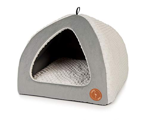 Z4L Lauren Design Hundehöhle | Katzenhöhle | Hundebett | Kuschelhöhle Hund Bella Grau Velvet + Grau Minky 50cm x 50cm
