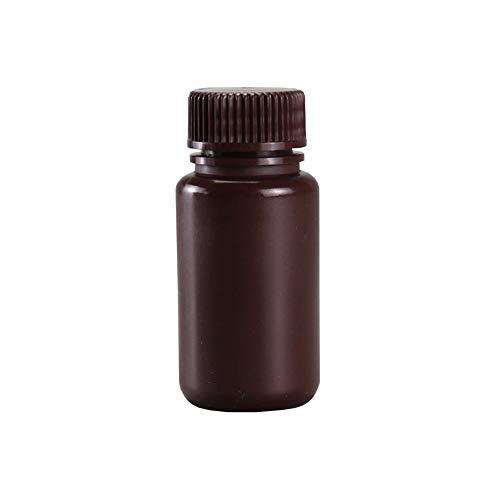 JRLGD PP Reagenzflaschen mit breiter Öffnung, Kunststoff, braun, 60 ml, Laborprobenflaschen mit Kappen, 10 Stück