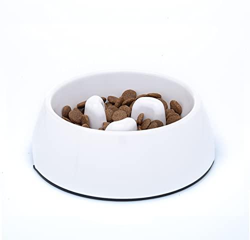 DDOXX Fressnapf Antischlingnapf, rutschfest | viele Farben & Größen | für kleine & große Hunde | Futter-Napf Katze | Hunde-Napf Hund | Katzen-Napf | Melamin-Napf | Weiß, 600 ml