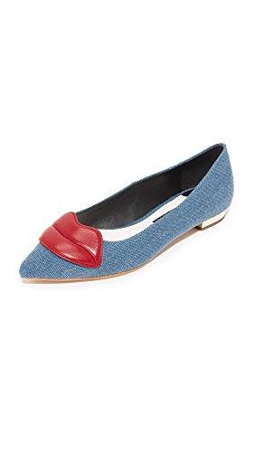 alice + olivia Women's Kaylee Lips Flats, Blue Denim, 37.5 EU (7.5 B(M) US Women)