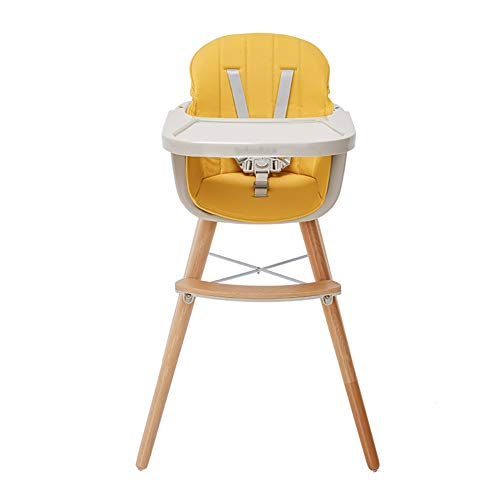 Chaises hautes Siège Facile Portable avec Plateau Amovible, Réglable pour Bébé/Enfant en Bas Âge (Coussin PU) (Couleur : Le Jaune)
