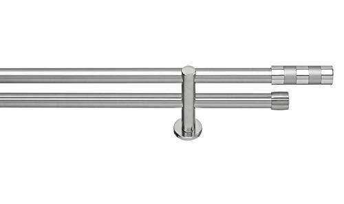 GARESA Gardinenstangen, Metall, Edelstahl-Optik, 200 cm