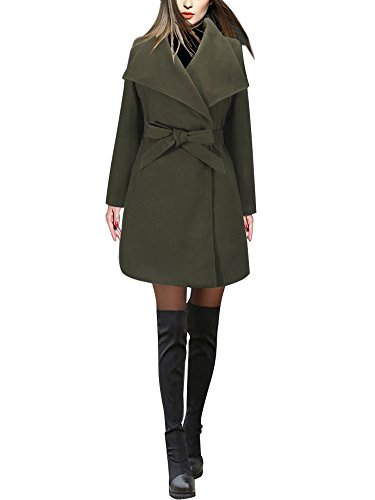Minetom Mujer Chaquetas Elegantes Clásico Manga Larga Solapa Cinturón Abrigo Talla Grande Trench Coat Slim Fit Cardigan Outwear Blazer A Verde ES 40