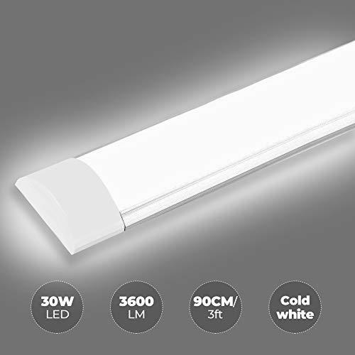 LED Deckenleuchte Röhre Licht, 30W 90cm Ultraslim Tube Röhre - 3600lm LED Leuchtstofflampe, Kaltweiß 6500K Lineare Lichtleiste Leuchtröhre Deckenlampe Für Garage Küche Badzimmer Wohnzimmer