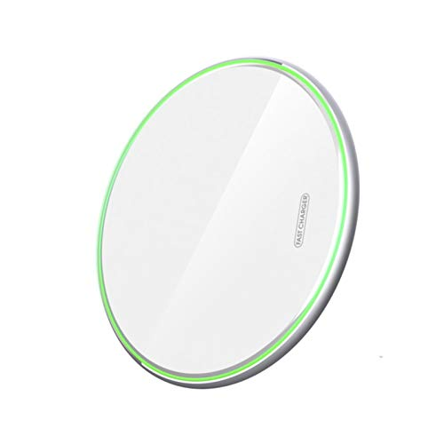 CMDZSW 10W QI Wireless Cargador para iPhone 11 Pro 8 XR XS MAX 2A para Samsung S10 S9 S8 Xiaomi Huawei (Color: White Pad 10W)