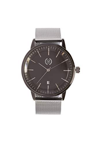Silver Black (Reloj analógico para Hombre, Cuarzo, Correa Malla de Acero, Acero Inoxidable, Función Calendario) Watch Business Elegantes, Tendencia, Casual Relojes de Pulsera Regalo