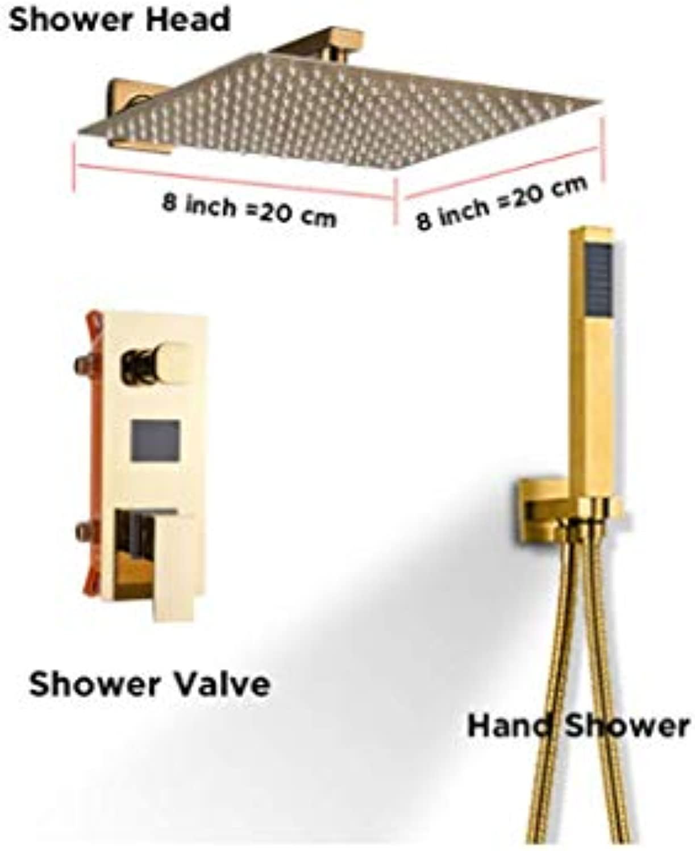 Shower System Gold Edelstahl-Dusche Faucet Set W ABS Hand-Dusche Einzel-Handle Dual Control Bad Cold und Hot Mixer Tap,C