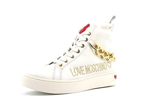 Love Moschino Scarpe Donna Sneakers Alte JA15533G1AIF0100 Taglia 36 Bianco