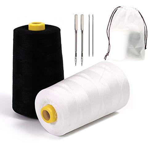 Sylon - Bobinas de hilo de coser (2 unidades, poliéster, 6000 m), color negro y blanco